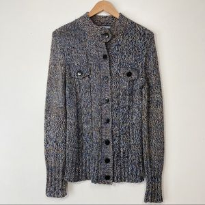 Jessica Cable and Ribbed Knit Wool Blend Button Down Cardigan Size M